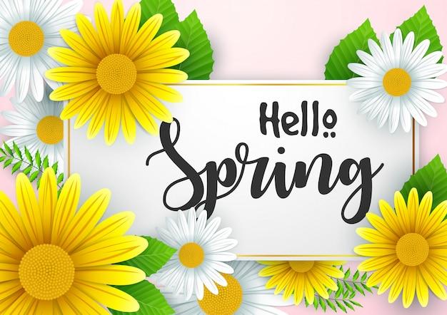 Olá fundo de primavera com lindas flores Vetor Premium