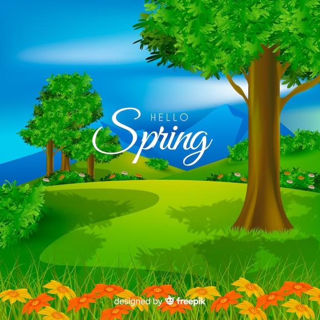 Olá fundo de primavera Vetor grátis