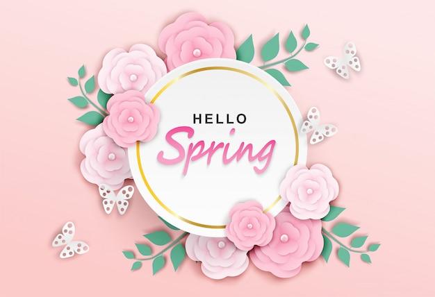 Olá fundo de primavera Vetor Premium
