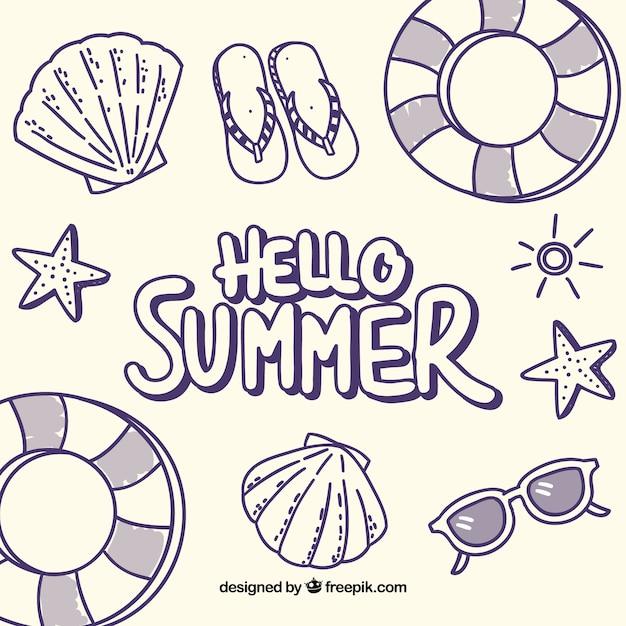 Olá fundo de verão com elementos de praia em monolines Vetor grátis