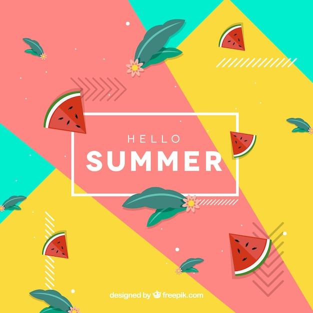 Olá fundo de verão com melancias Vetor grátis