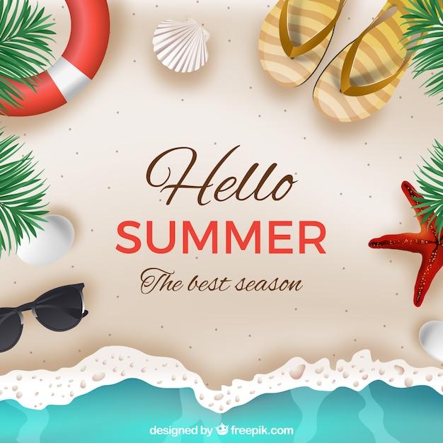Olá fundo de verão com praia em estilo realista Vetor grátis