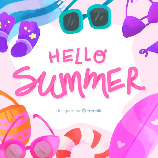Olá fundo de verão Vetor grátis