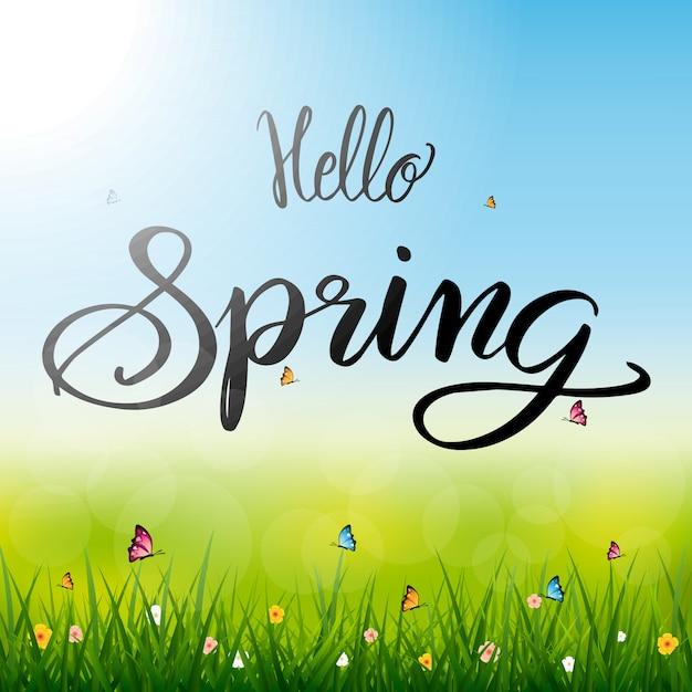 Olá ilustração da temporada de primavera Vetor Premium
