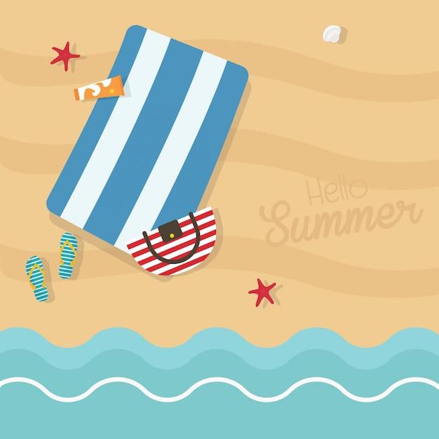 Olá ilustração de quadrados de verão. vista superior da exótica praia vazia com toalha azul listrada, saco, protetor solar, chinelos Vetor Premium