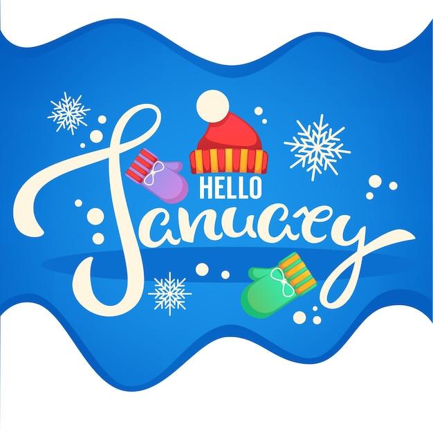 Olá, janeiro, folheto de composição de letras de chapéu, luvas e flocos de neve Vetor Premium