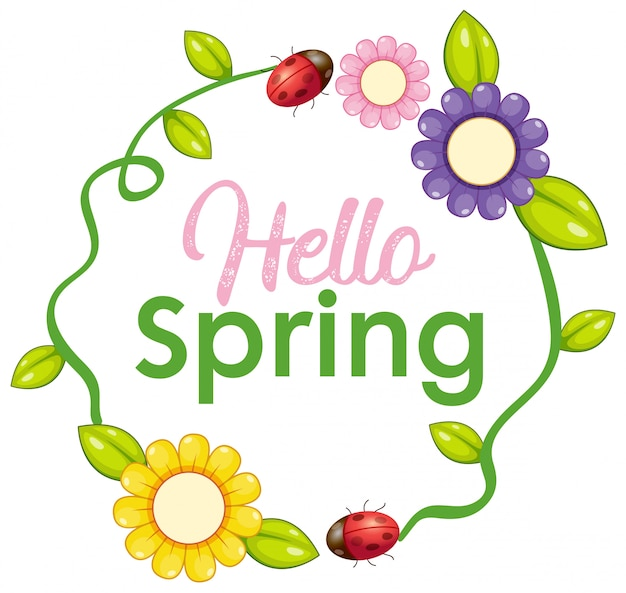 Olá letra de texto da primavera Vetor Premium