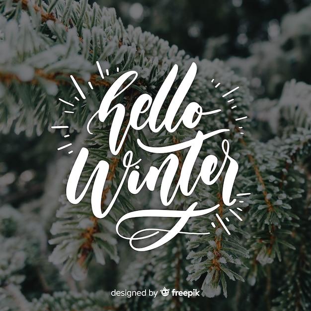 Olá letras de inverno Vetor grátis