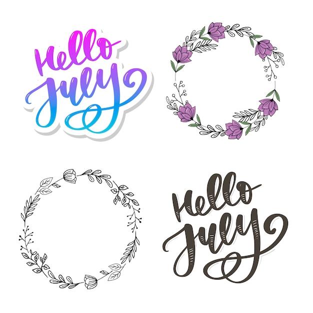 Olá letras de julho impressão Vetor Premium