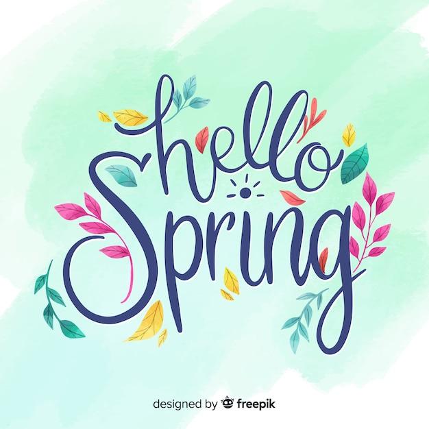 Olá letras de primavera Vetor grátis