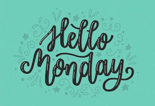 Olá letras de segunda-feira em fundo azul Vetor grátis