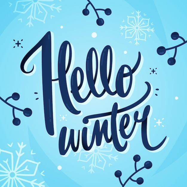Olá letras de texto de inverno Vetor grátis