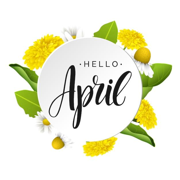 Olá letras de vetor de abril. Vetor Premium