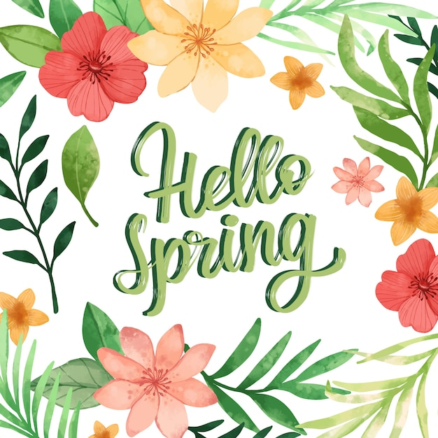 Olá letras florais de primavera com decoração colorida Vetor grátis