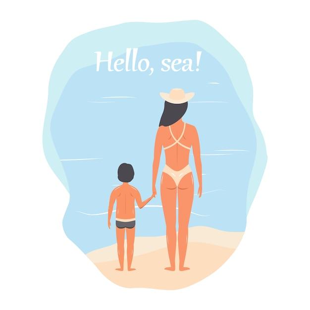 Olá mar! pessoas em roupas de praia: mãe e filho, mulher com um bebê. vetor Vetor Premium