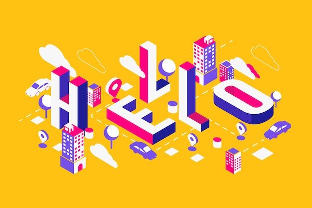 Olá mensagem de tipografia isométrica Vetor grátis
