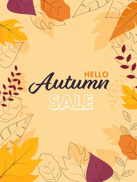 Olá, modelo de venda de outono ou folheto com várias folhas decoradas em fundo amarelo pêssego. Vetor Premium