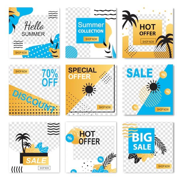 Olá oferta especial de verão hot sale sale discount banner set Vetor Premium