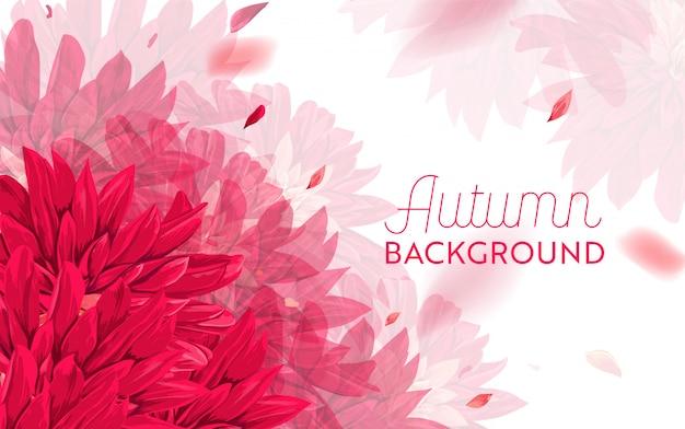 Olá outono floral design. fundo floral de outono sazonal Vetor Premium
