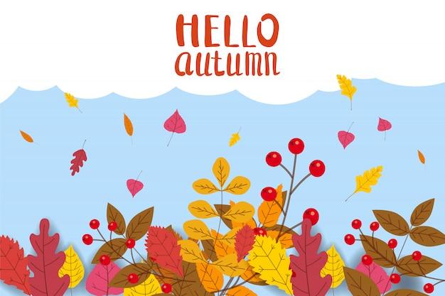 Olá outono, fundo com folhas caindo Vetor Premium