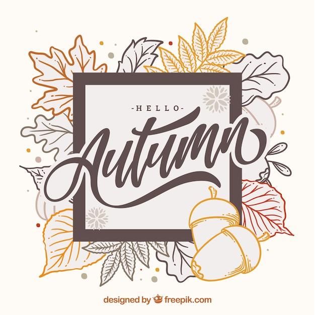 Olá outono letras fundo com folhas Vetor grátis
