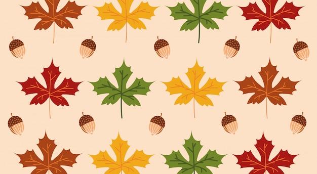 Olá outono temporada maple folhas e bolotas padrão Vetor grátis