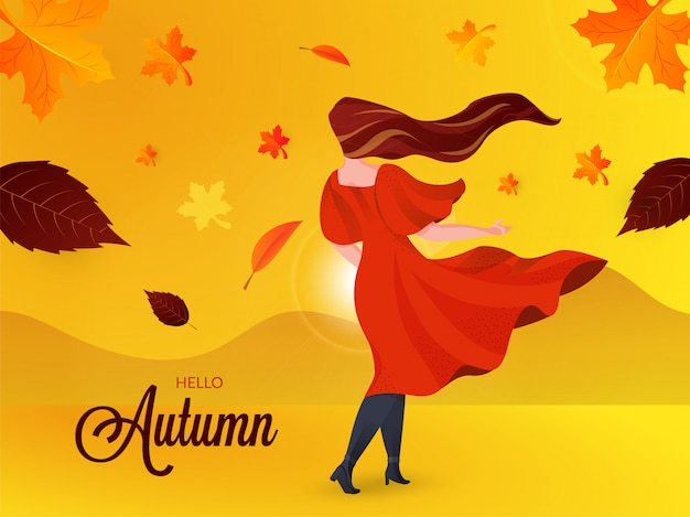 Olá outono Vetor Premium