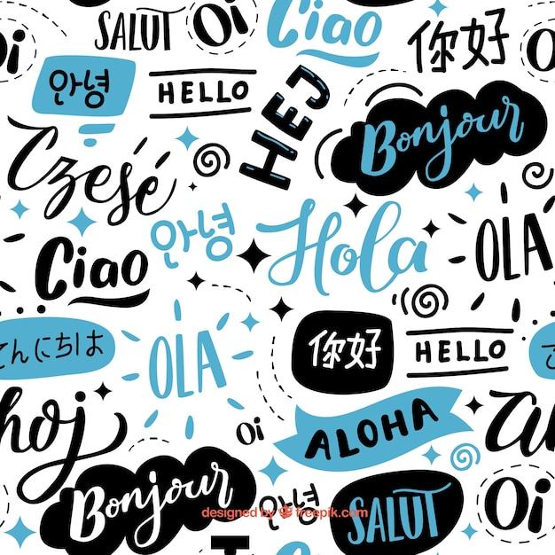 Olá, padrão de palavras em idiomas diferentes Vetor grátis
