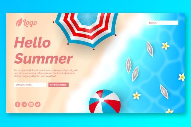 Olá página de destino do verão Vetor grátis