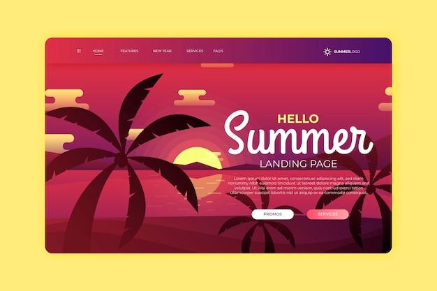 Olá página inicial de verão com pôr do sol e palmeiras Vetor grátis