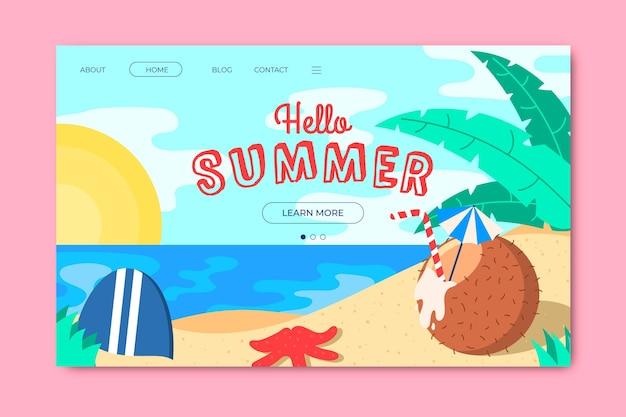 Olá, página inicial de verão com praia e coco Vetor grátis