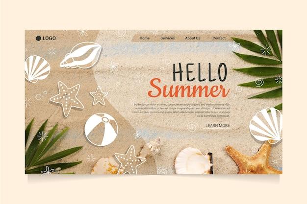 Olá, página inicial de verão com praia e conchas do mar Vetor grátis