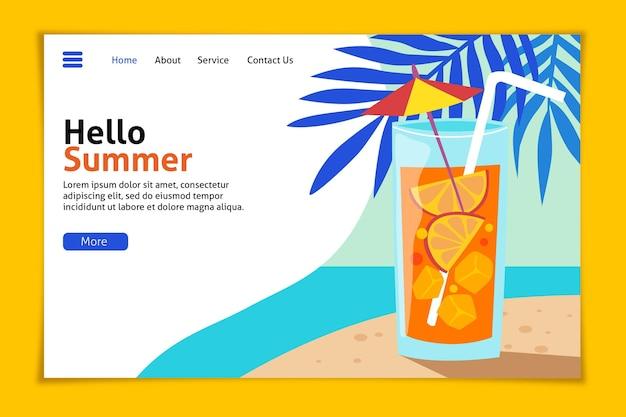 Olá, página inicial de verão com praia e coquetel Vetor grátis