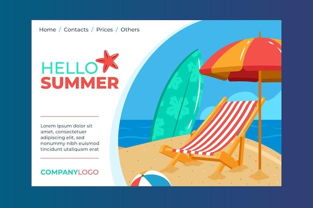 Olá, página inicial de verão com praia e prancha de surf Vetor grátis