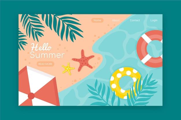 Olá, página inicial de verão com praia Vetor grátis