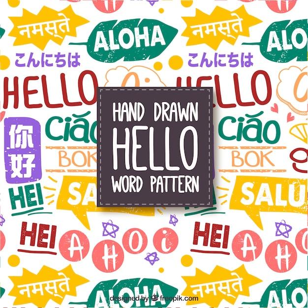 Olá palavras padrão em diferentes idiomas Vetor grátis