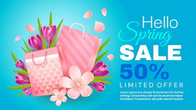 Olá primavera. banner de venda Vetor Premium
