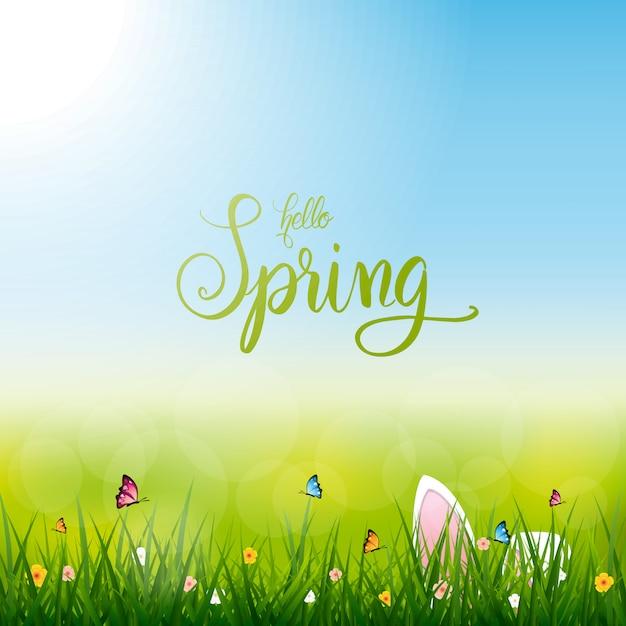 Olá primavera, coelho de páscoa, ilustração de temporada de primavera de natureza Vetor Premium
