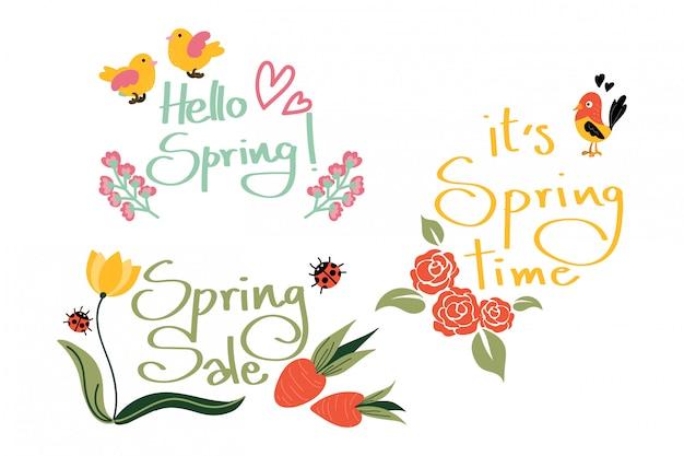 Olá primavera coleção. Vetor Premium