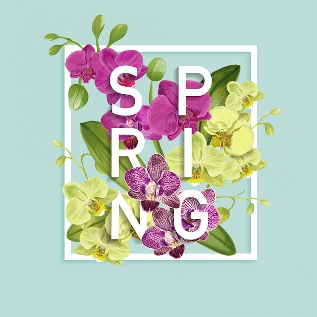 Olá primavera design. flores de orquídea tropical Vetor Premium