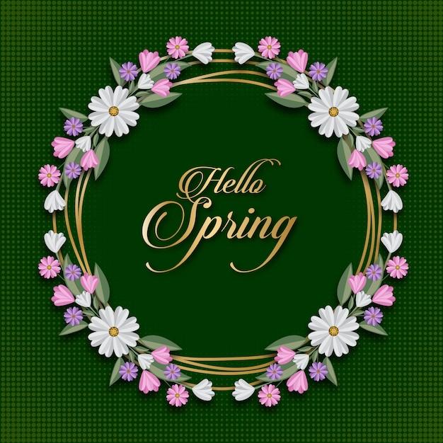 Olá primavera floral cartão modelo Vetor Premium