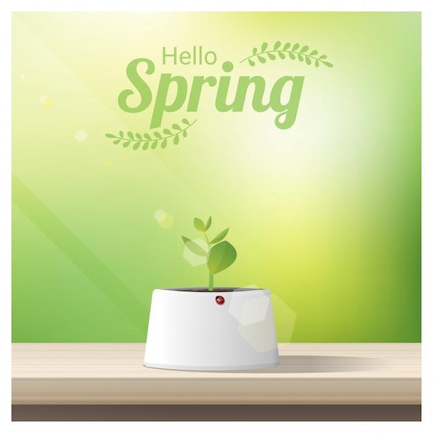 Olá primavera fundo com broto jovem Vetor Premium