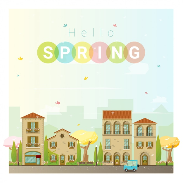 Olá primavera paisagem urbana Vetor Premium