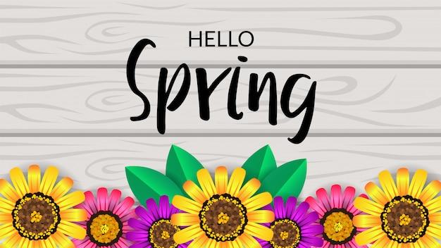 Olá primavera vista superior flor flor na madeira Vetor Premium