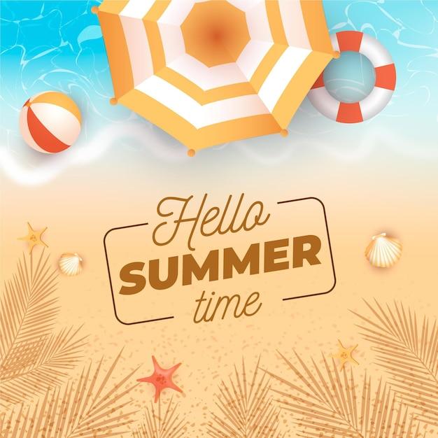 Olá realista conceito de verão Vetor grátis