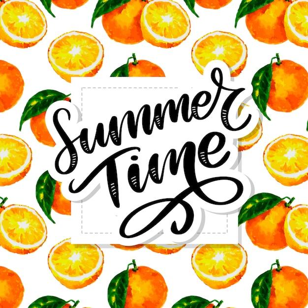Olá slogan de verão padrão sem emenda com aquarela cítrica: laranja, limão, toranja Vetor Premium
