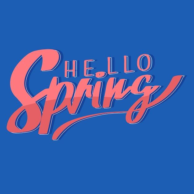 Olá tema de letras coloridas de primavera Vetor grátis