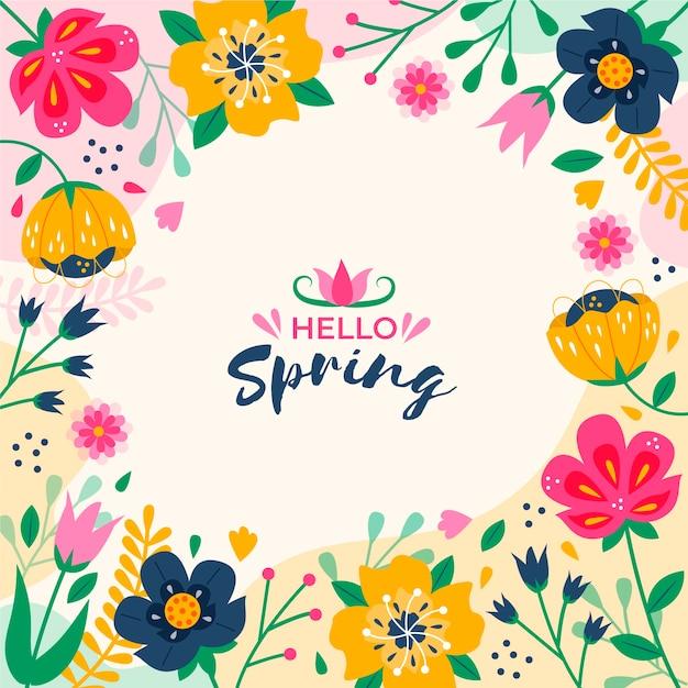 Olá tema de letras de primavera Vetor grátis