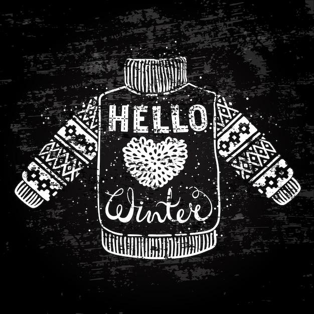 Olá texto de inverno e camisola de malha de lã com um coração Vetor Premium