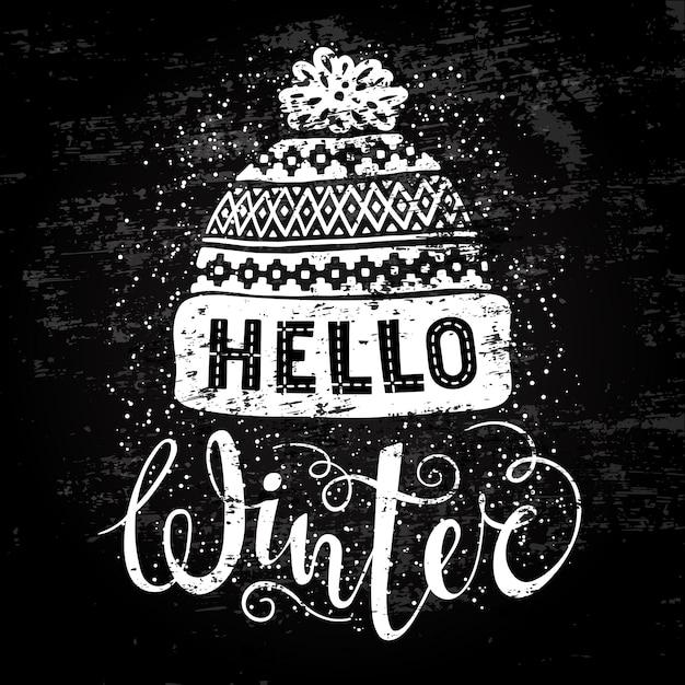 Olá texto de inverno e gorro de lã tricotado Vetor Premium